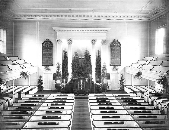Sanctuary decorated for Christmas Eve circa 1900